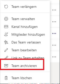 Archivieren von Teams