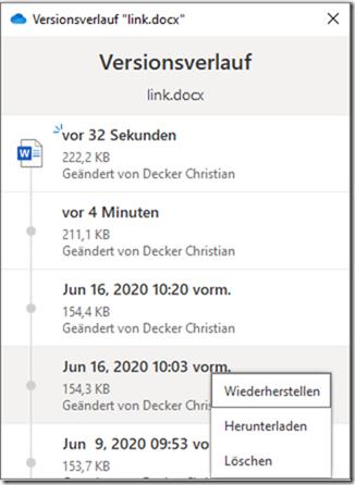 Versionsverlauf im OneDrive Client